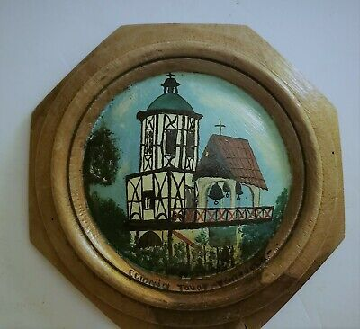 Wooden handpainted plate Venezuela Colonia Tovar Carved