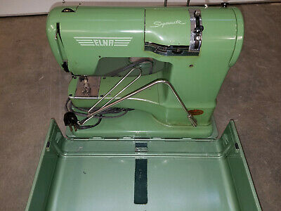 Vintage Green Elna Supermatic Sewing Machine IN Hard Carrying Case- NICE!!!!!