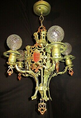 VTG DECO GOTHIC POLICHROME CAST IRON HANGING CHANDELIER CEILING FIXTURE 1930's