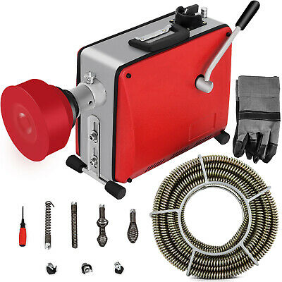 20-100mm Sectional Drain Cleaner Cleaning Machine 390W 12.5m Auger Spring Cable