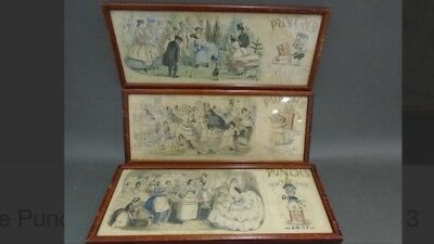 1862 1855 & 1857 Lithograph - Framed Punch's Pocket Book Illustrations Lot Of 3