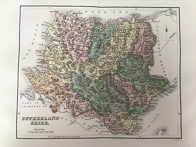 Sutherland Shire 1885 Antique County Map, Bartholomew, Atlas, Scotland, Colour