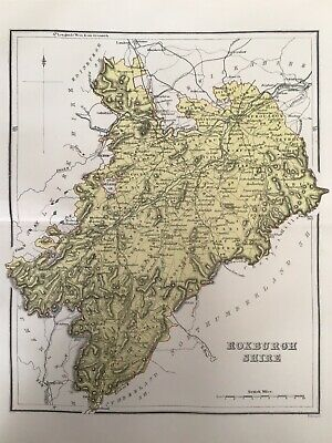 Roxburgh Shire 1885 Antique County Map, Bartholomew, Atlas, Scotland, Colour