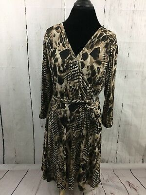 a8564613774f Chico's Faux Wrap Dress Brown Animal Print 3/4 Sleeve Belted Career Size 2  Large