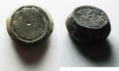 ZURQIEH -as11279- ISLAMIC. UMMAYYED BRONZE WEIGHT. 4.15GM = 1 DINAR. 700 A.D