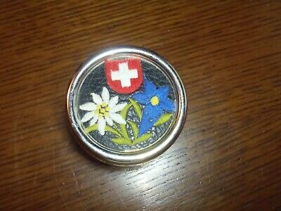 Vintage MAPSA Swiss Music Box Switzerland EDELWEISS West Germany Natural Flowers