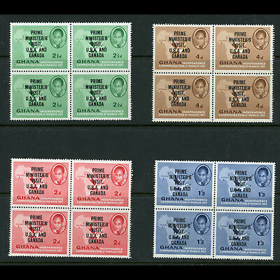 GHANA 1958 Prime Minister's Visit SG 197-201.Mint Never Hinged Block of 4(BH331)