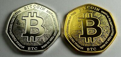 Pair of Collectable BITCOIN Silver & 24ct Gold Commemoratives Albums/Collectors