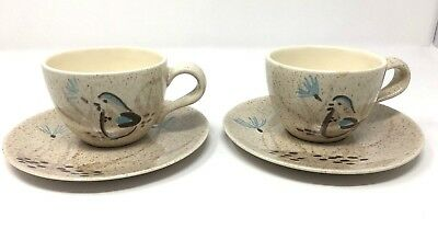 Vintage Red Wing Pottery Hand Painted Bob White Quail Bird Cup & Saucer Set