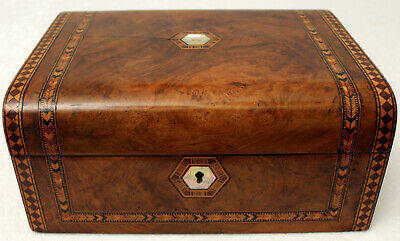 BURR WALNUT 19th CENTURY VICTORIAN TUNBRIDGE WARE JEWELLERY/SEWING BOX