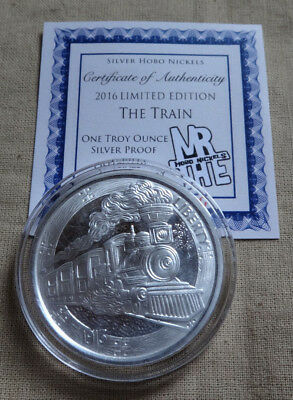 2016 The Train Hobo Nickel 1oz Silver Proof Version Coin Round COA