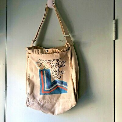Vintage 1980 Lake Placid  XIII Olympic Winter Games  Canvas Tote Bag