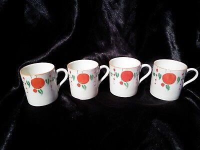 Art Deco  Clarice Cliff style Demitasse miniature Coffee Cans  Coffee Cups x 4