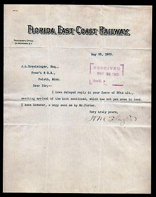 1900 Henry Flagler signs RARE Florida East Coast Railway Letter - Bold signature