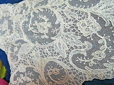 ANTIQUE embroidered net LACE Tambour COLLAR Bodice front piece 10 x 15""