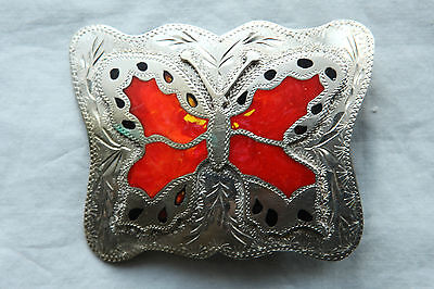 Vintage Hand Made Engraved Butterfly Inlay Western Belt Buckle
