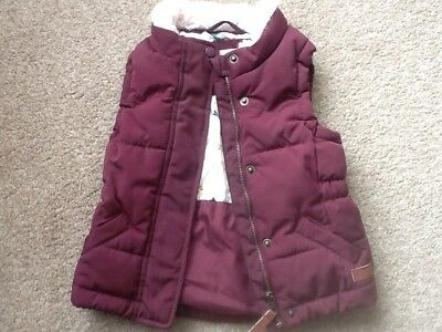 H&M Logg Girls 3-4 Y Burgundy Berry Borg Fur Neck Bodywarmer Gilet Jacket Coat