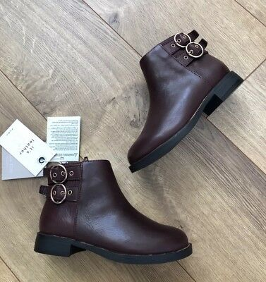 Zara Girls Burgundy Red Bordeaux Leather Size Zip Ankle Boots Sizs Eur 26 Us 9