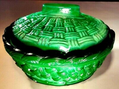 Malachite Czech Bohemian Art Deco Green Glass Basket Czech Republic