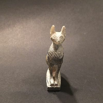 Antique Hand Carved Stone Figurine Bastet Egyptian Goddess Persian Cat Statue
