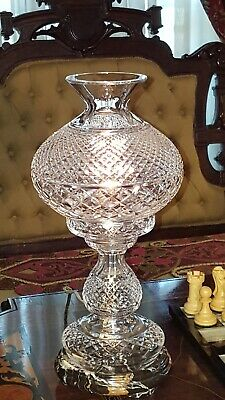 """WATERFORD CRYSTAL LAMP (Signed) 2 pc ALANA Exc. Vintage Cond 13.5"""" Tall  IRELAND"""