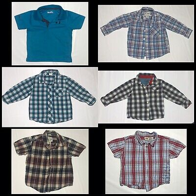 Lot Of 12 Month Baby Boy Shirts Toddler Button Up Plaid Under Armour