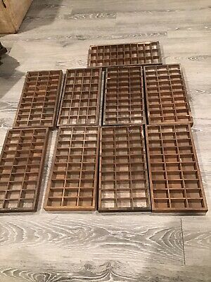 Antique lot of wooden printing press trays 9 drawers