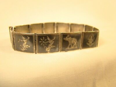 "Antique Siam Sterling Silver 12 Panel Elephant Niello Thepanom 6.5"" Bracelet"