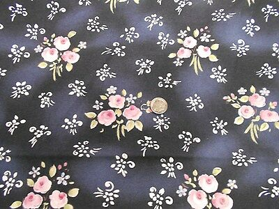 """4 yds by 44"""" NOS cotton pink rose bouquet flowered quilting fabric sewing crafts"""
