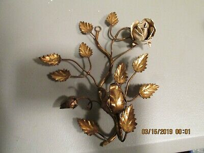 Single Candle Sconce Mid Century Hollywood Regency  gold gilt