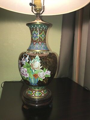 Beautiful Vintage Chinese Brass Cloisonne Floral Vase Lamp