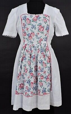 Vintage 1940'S Piquet Cotton White Dress W Floral Print Front & Scallop Trim