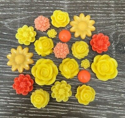 20x Orange Yellow Rose Flower Round Resin Cabochon Flatback Embellishments Craft