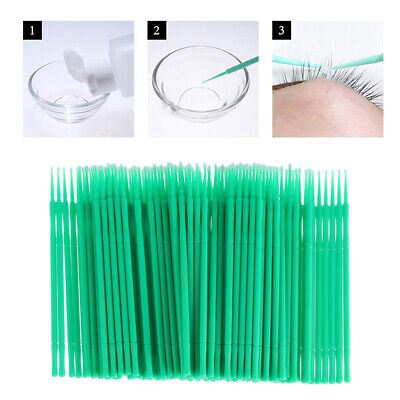 400Pcs Disposable Applicator Eyelash Brush Extension Cotton Swab Micro Brush
