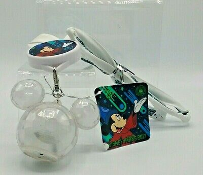 NEW Disney Parks Mickey Icon Light Up Glow Necklace Crystal Mickey 2017 Lanyard
