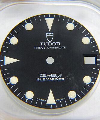 Vintage Genuine Original Tudor Submariner 76100 Matte Black Tritium Watch Dial