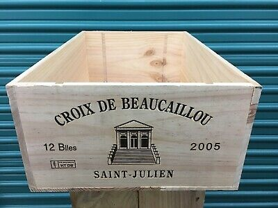 Wine Box Case Wooden Crate 12/750ml French Chateau Croix Beaucaillou Bordeaux