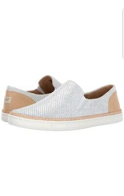 093570f4470 UGG WOMEN'S ADLEY Slip On Stardust Silver Perforated Suede Casual Sneaker  7.5 US