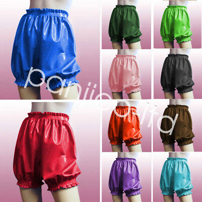 Cute Shorts Latex Rubber Fashion Cool Knee Length Shorts with Lace Size:XXS-XXL