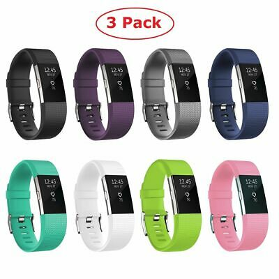 3 Pack Replacement Silicone Wristband Watch Band Strap For Fitbit Charge 2