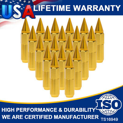 Top! 20Pcs M12X1.5 60mm Cap Spiked Aluminum Extended Tuner Wheels Rims Lug Nuts
