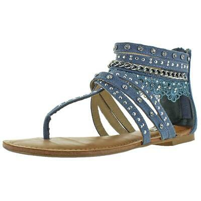 8caae0695781 Not Rated Naughty Monkey Wilma Women s Lace Gladiator Sandals Denim Size 11