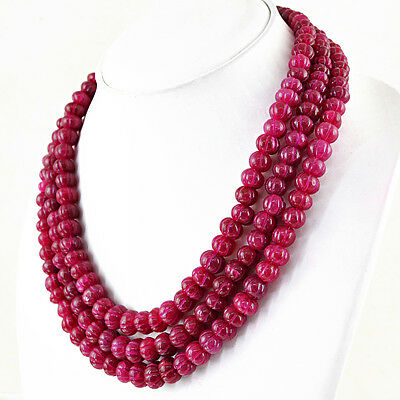 985.50 CTS EARTH MINED RICH RED RUBY ROUND SHAPE CARVED BEADS HAND MADE NECKLACE