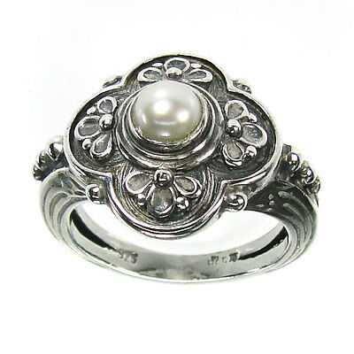 Gerochristo 2759 ~  Sterling Silver & Pearl - Medieval-Byzantine Ring