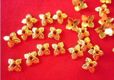 50 Leaf Bead Caps 6mm Gold Coloured #bc0307 Jewellery Making Beading Findings