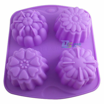 New 4 Flower Cake Mold Silicone Chocolate Muffin Cookie Pastry Baking DIY Mould