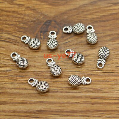50 Pineapple Charms Double Sided Charms Antique Silver Tone 14x7x4 3634