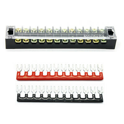 1 X 600v 25a 12 Positions Dual Rows Covered Barrier Screw Terminal Block Strip