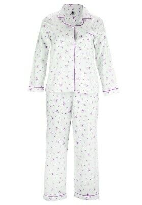 Rrp $40.00 Women 100% Cotton Pj Set Pink 14/16