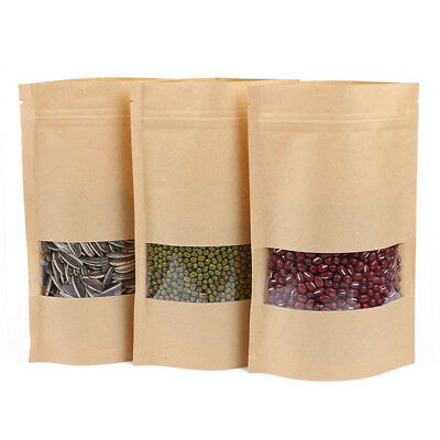 Kraft Bag Window Stand Paper Dried Food Resealable Zip Lock Excellent Seal Pouch